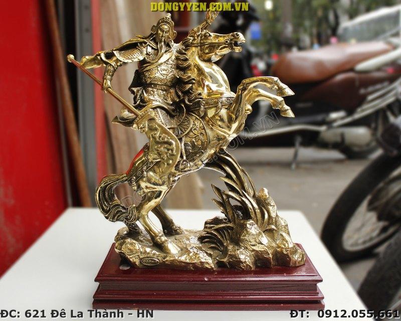 Tượng Quan Vân Trường Cưỡi Ngựa Bằng Đồng Cao 40cm