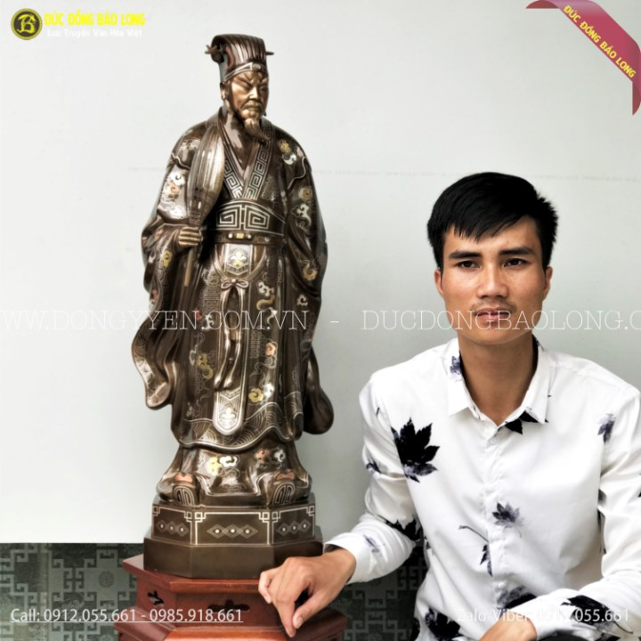 Tượng Khổng Minh Gia Cát Lượng Bằng Đồng Khảm Tam Khí 81cm