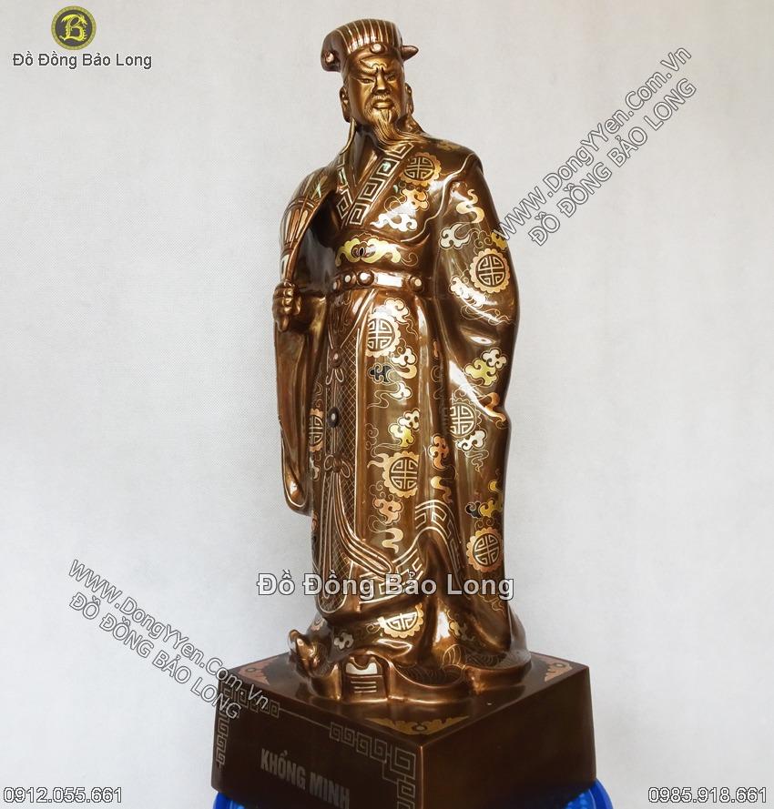 tượng khổng minh bằng đồng tam khí cao 55cm