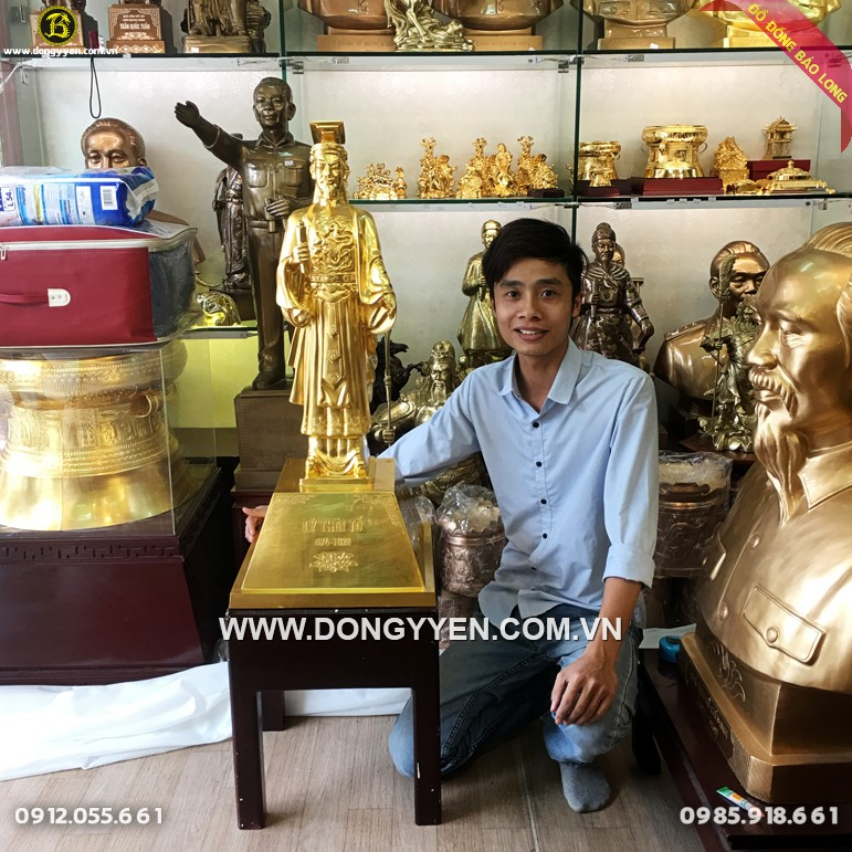 Tượng Lý Thái Tổ Bằng Đồng Đỏ  89cm Dát Vàng 9999