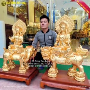 Tượng Văn Thù Phổ Hiền Bồ Tát cao 89cm Dát Vàng 9999