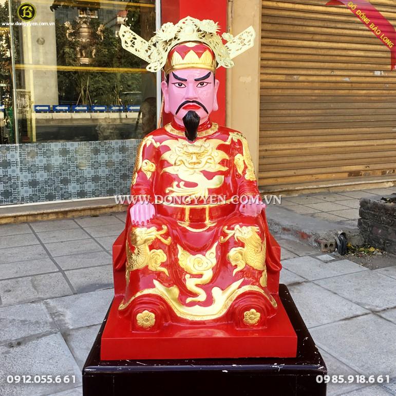 tượng đúc thánh trần cao 61cm bằng đồng đỏ dát vàng 9999