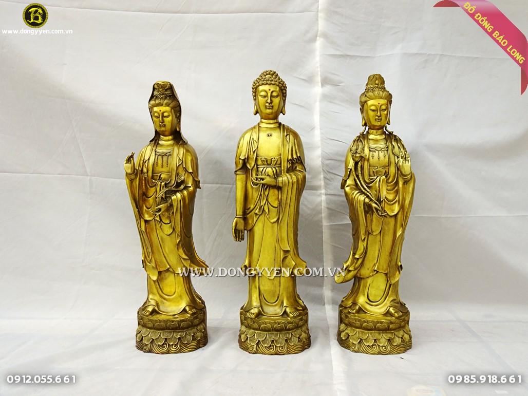 bộ tượng tam thánh tây phương đứng cao 61cm