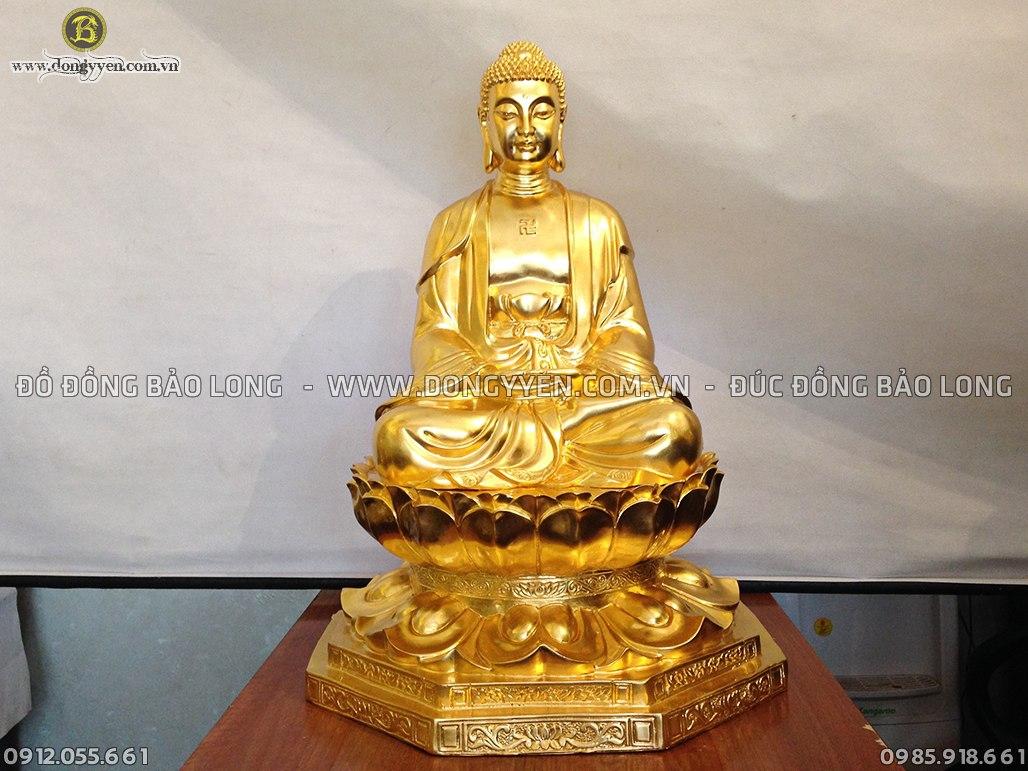 tượng thích ca ngồi đài sen cao 68cm dát vàng 9999