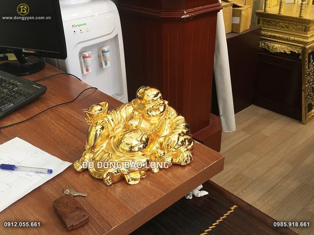 tượng di lặc mạ vàng 24k 25cm