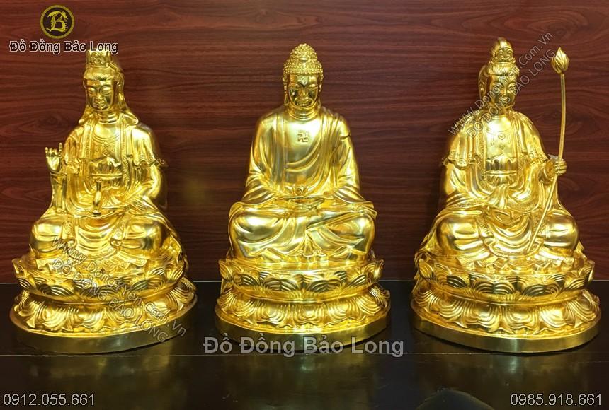 bộ tượng tam thánh tây phương dát vàng cao 48cm