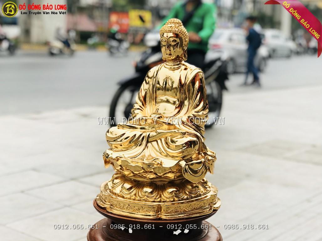 tượng phật thích ca bằng đồng mạ vàng 42cm