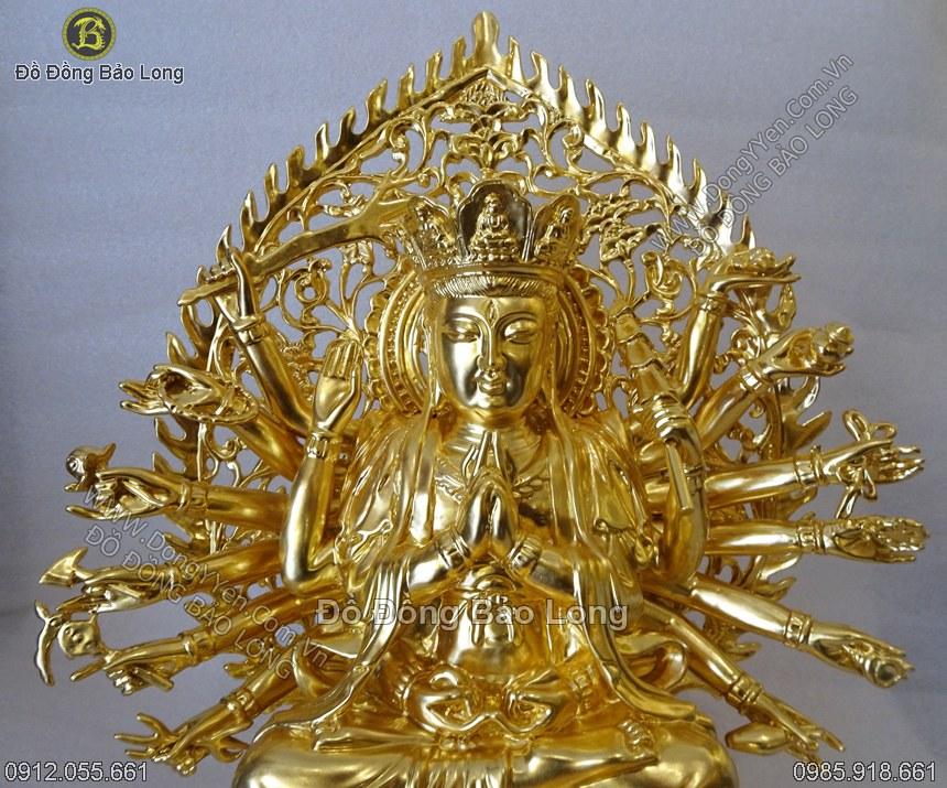 tượng chuẩn đề dát vàng cao 40cm