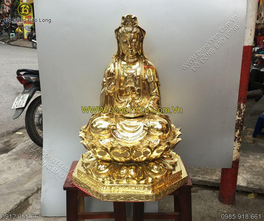 tượng phật bà quan âm ngồi abnwgf đồng vàng 68cm
