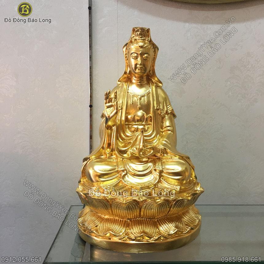 tượng đồng phật bà quan âm 39cm dát vàng 9999