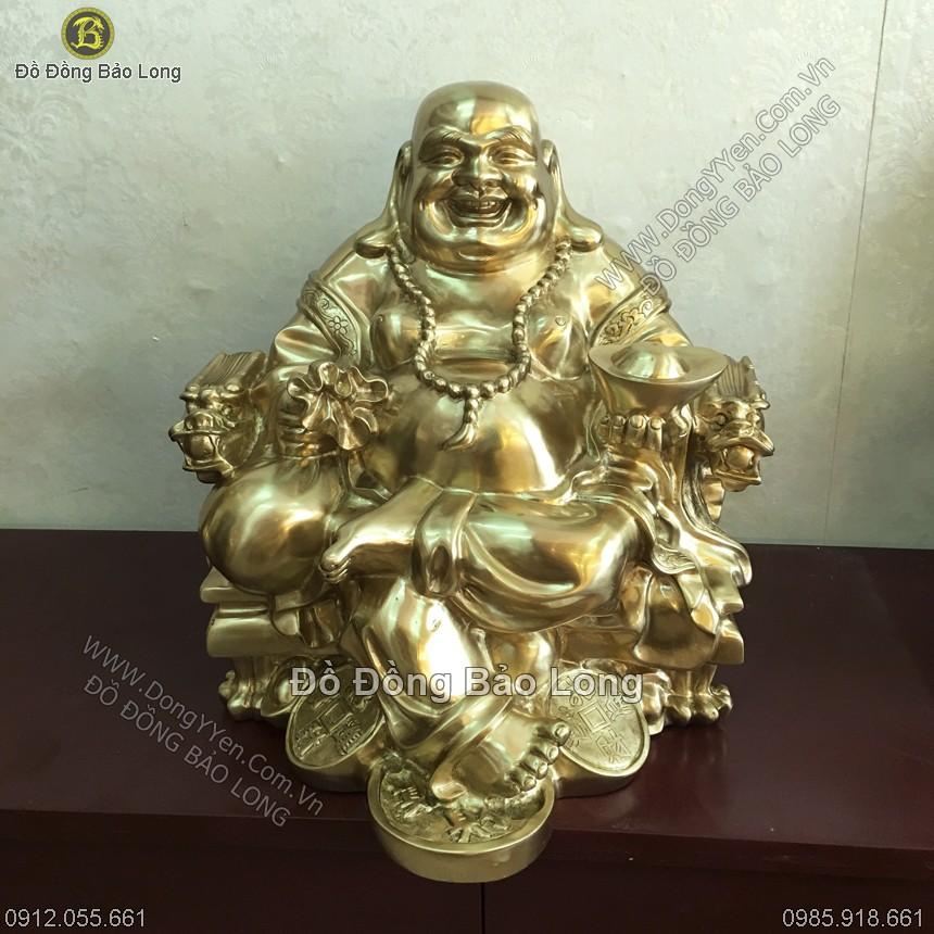 tượng phật di lặc ngồi ngai bằng đồng 42cm