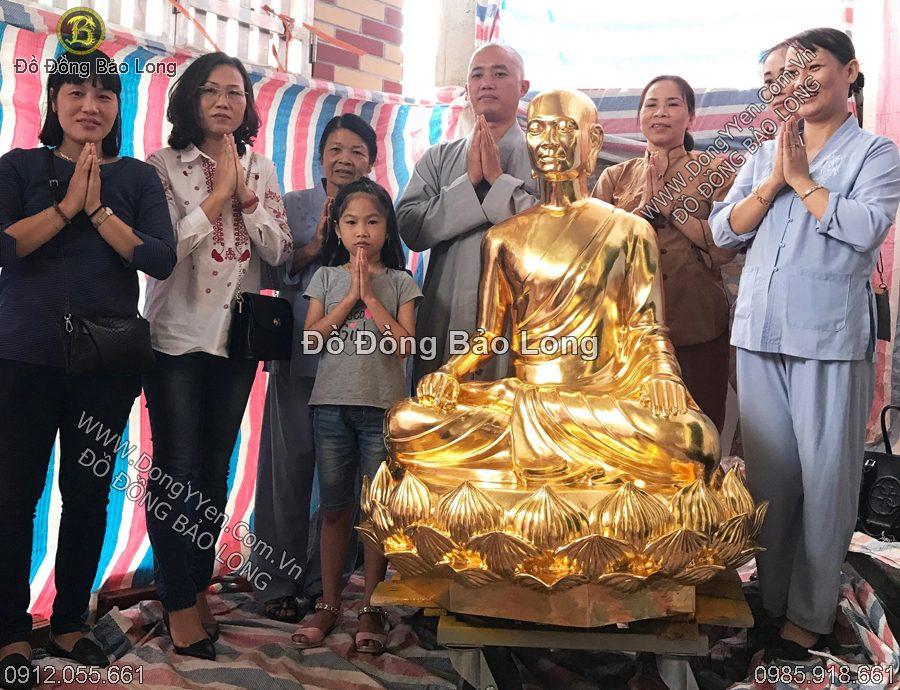 tượng phật hoàng trần nhân tông cao 1m27 dát vàng 9999
