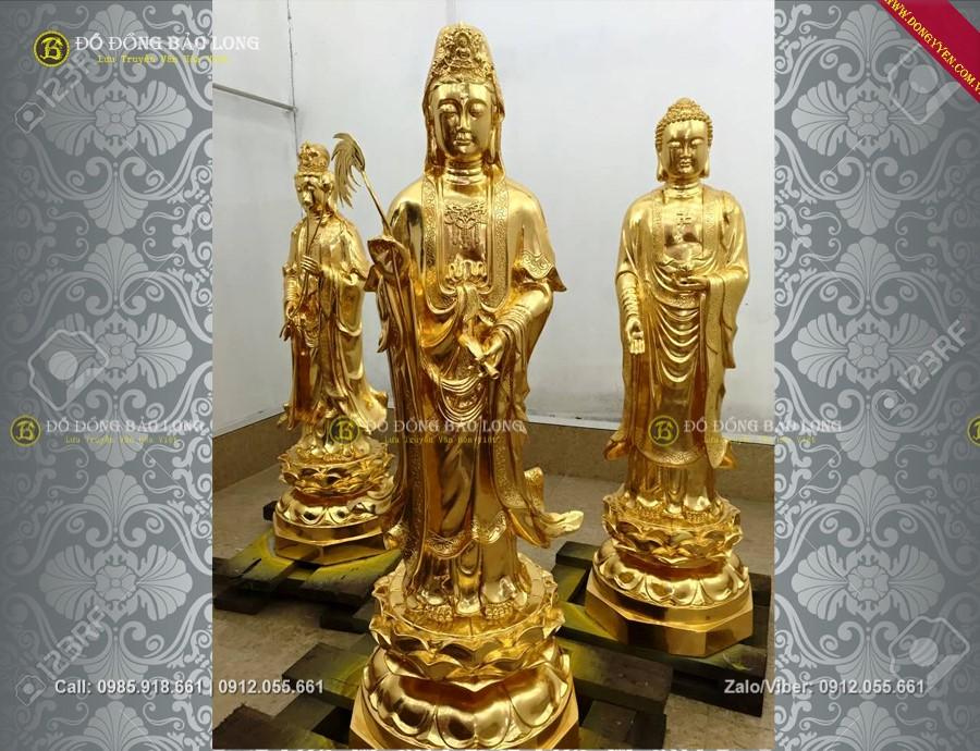 đúc tượng tam thánh tây phương đứng bằng đồng cho chùa