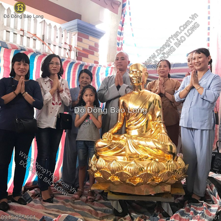 Đúc Tượng Phật Hoàng Trần Nhân Tông 1m27 Dát Vàng 9999
