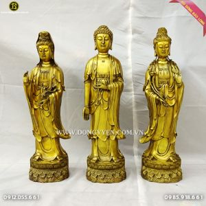 Bộ Tượng Tam Thánh Tây Phương Đứng 61cm Bằng Đồng Vàng