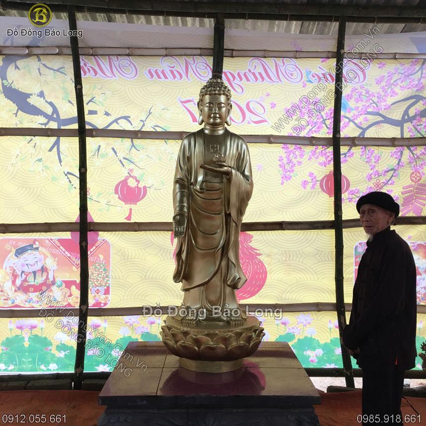 Đúc Tượng Đồng Phật A Di Đà Đứng 1m8