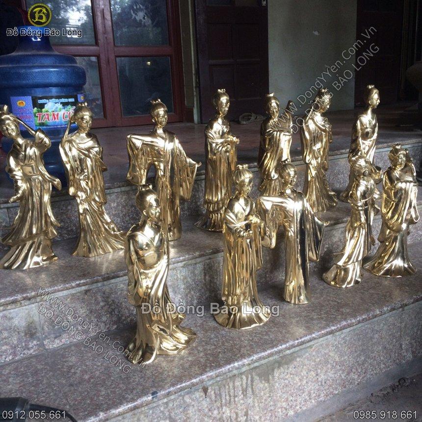 Tượng 12 Cô Sơn Trang Bằng Đồng 42cm
