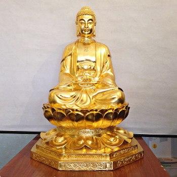 Tượng Thích Ca Ngồi Dát Vàng 68cm cho khách ở Sóc Trăng