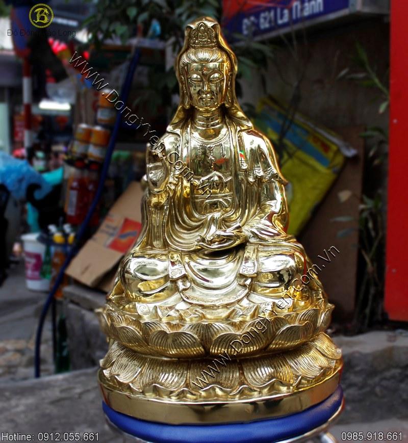 Tượng Đồng Phật Bà Quân Âm Ngồi Đài Sen 48cm
