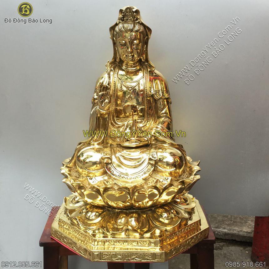 Tượng Phật Bà Ngồi Đồng Vàng 68cm