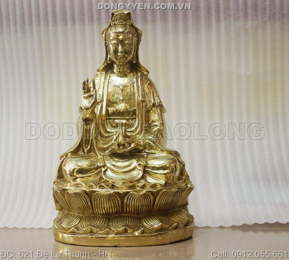 Tượng Phật Bà Quan Âm Ngồi Bằng Đồng 39cm