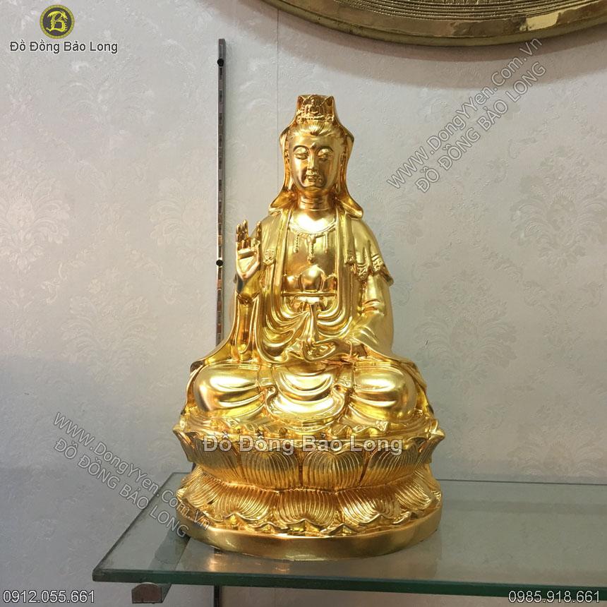 Tượng Phật Bà Quan Âm Thếp Vàng 39cm