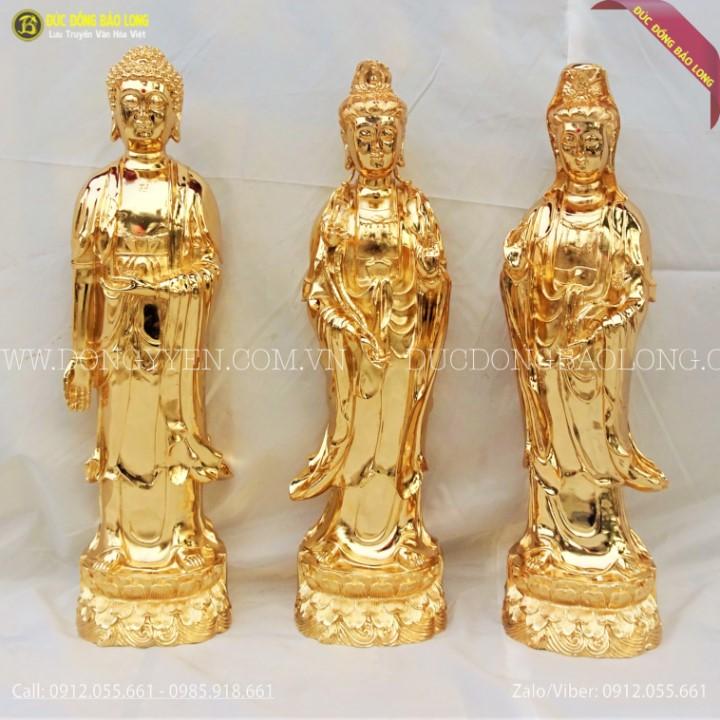 Tượng Phật Tam Thánh Tây Phương Bằng Đồng Mạ Vàng 24k 61cm