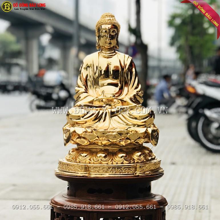 Tượng phật Thích Ca Bằng Đồng Mạ Vàng 24k cao 42cm đẹp