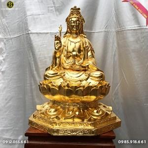 Tượng Quan Âm Ngồi Đài Sen Dát Vàng 9999 cho khách Hà Nội