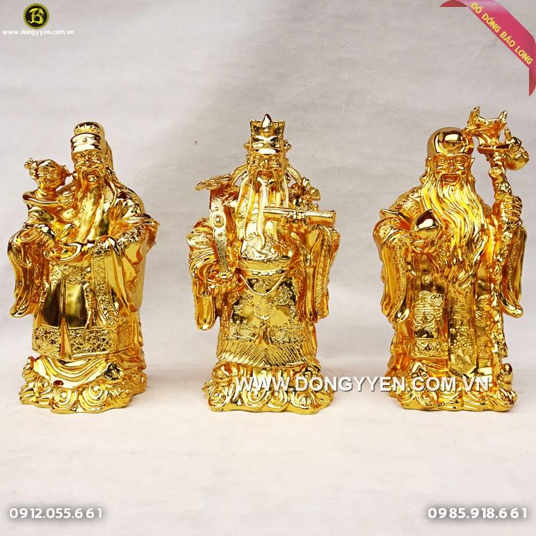 Tượng Tam Đa Phúc Lộc Thọ Mạ Vàng 24k cao 38cm