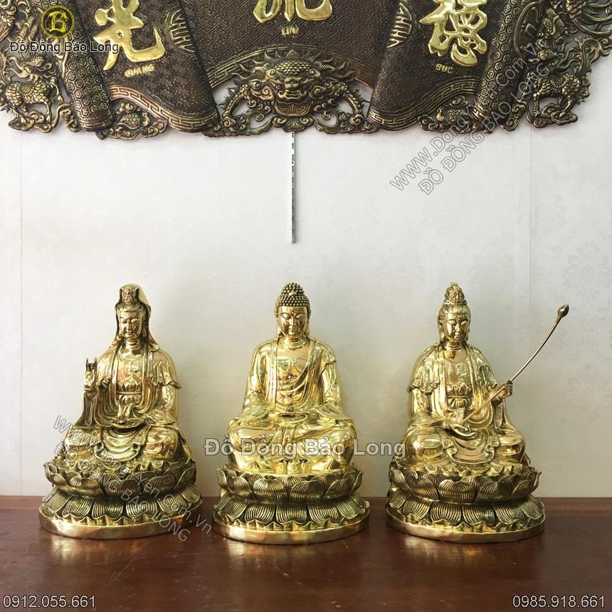 Tượng Tam Thánh Tây Phương Đồng Vàng 39cm