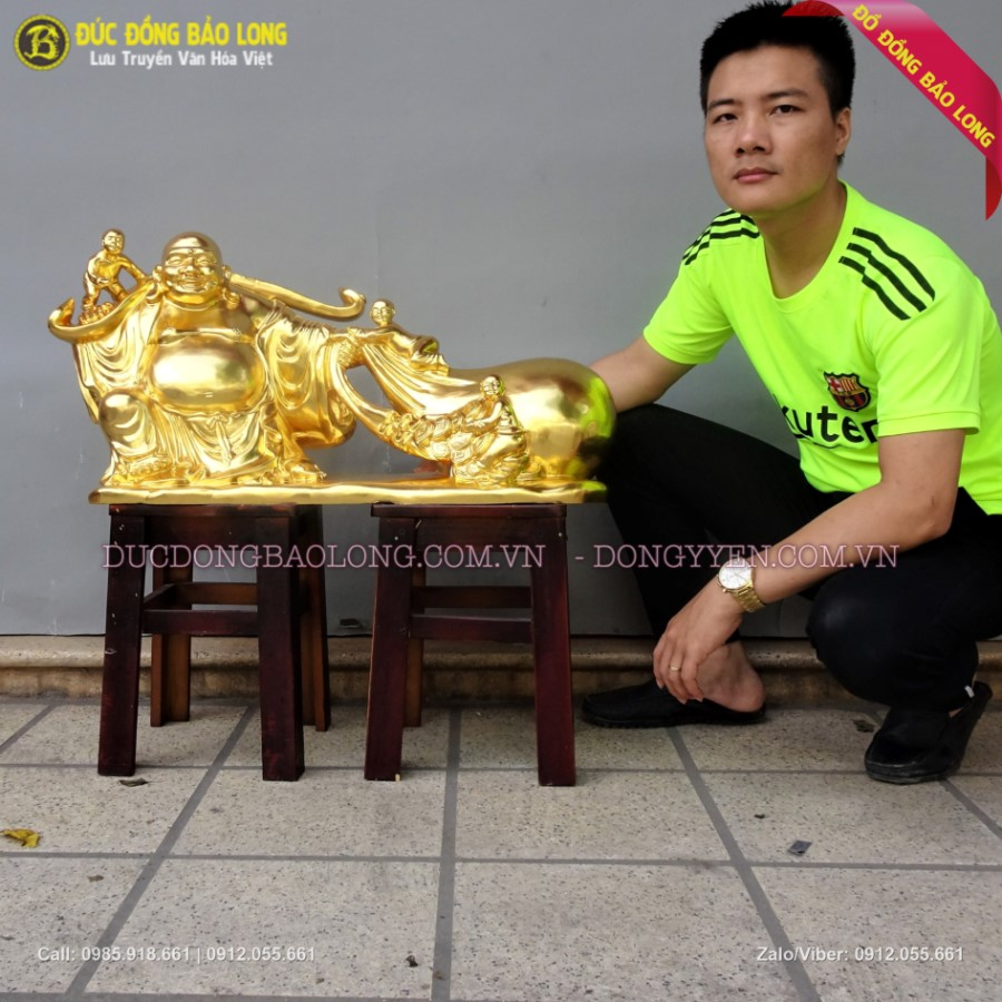Tượng Di Lặc Kéo Tiền Dát Vàng 78cm cho biệt thự ở Xuân Đỉnh
