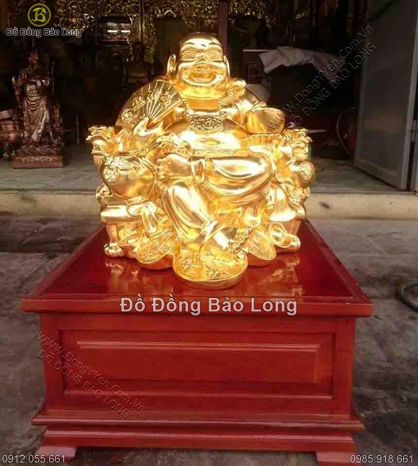 tượng phật di lặc ngồi dát vàng cao 48cm