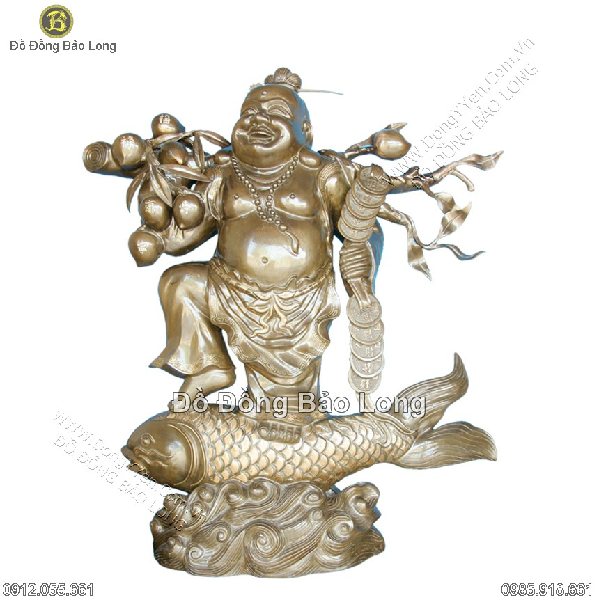 tượng phật di lặc cưỡi cá chép đồng đỏ cao 81cm