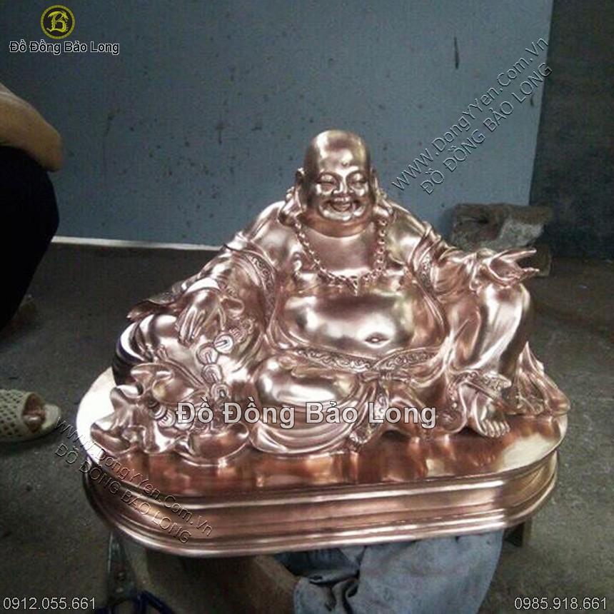 tượng phật di lặc ngồi bằng đồng vàng 25cm
