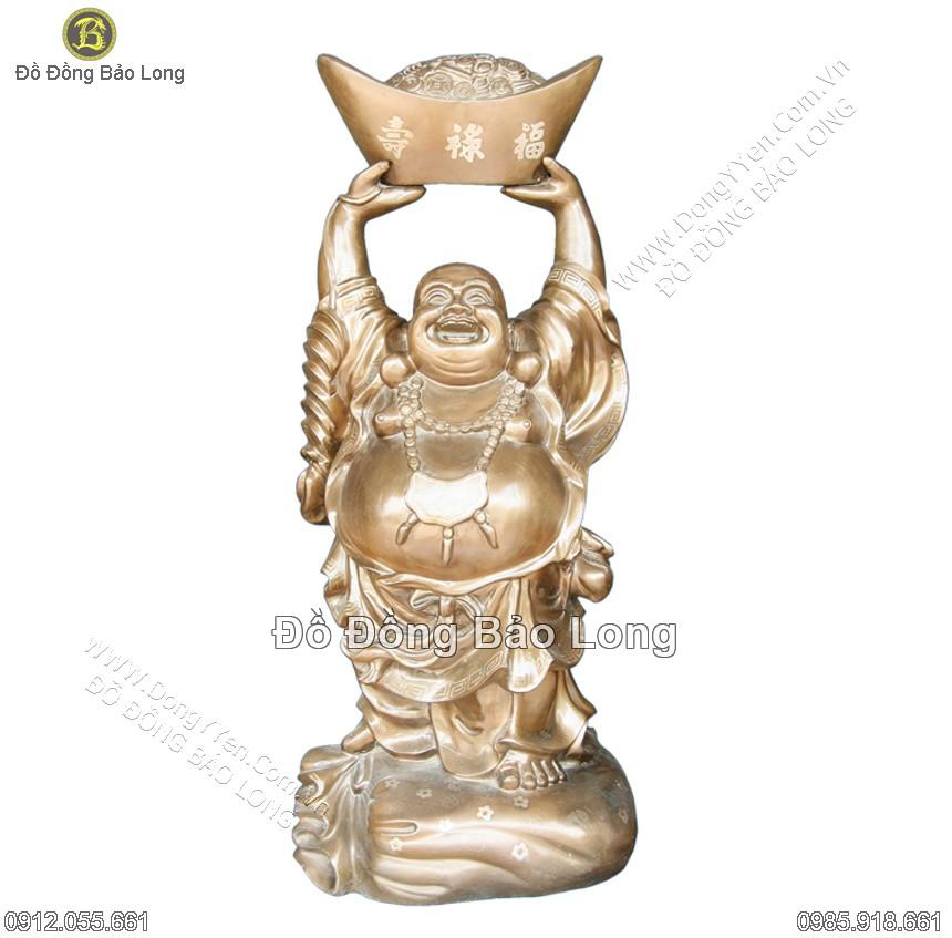 tượng phật di lặc đồng đỏ đỡ thỏi vàng cao 50cm