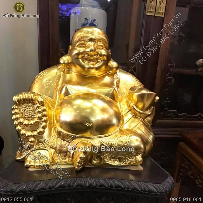 Tượng Phật Di Lặc Ngồi Dát Vàng 35cm