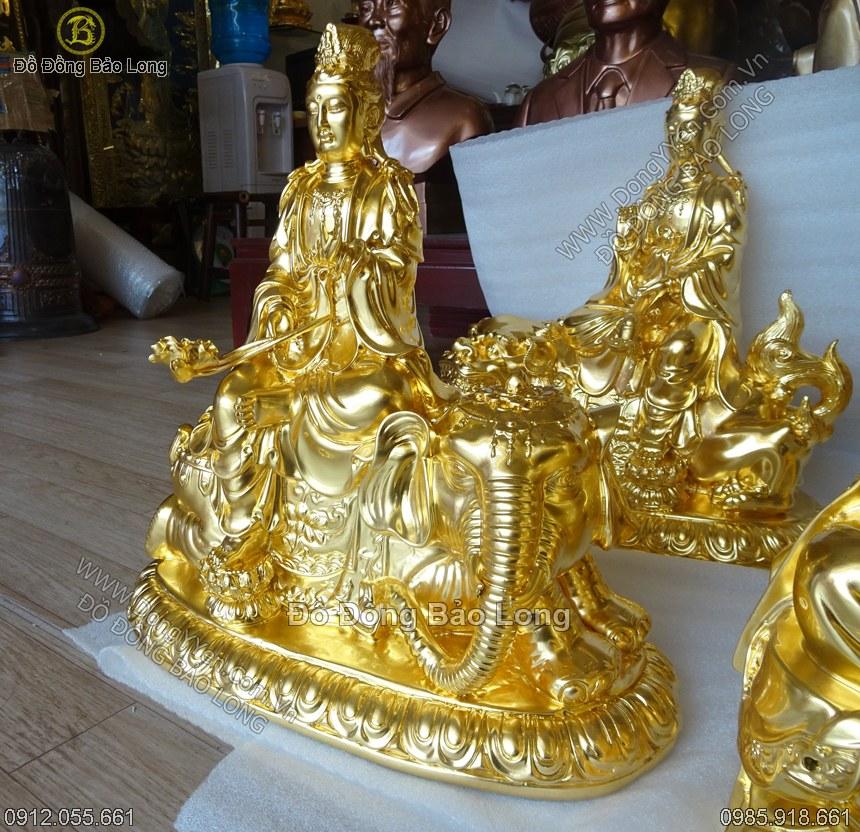 Tượng Văn Thù Phổ Hiền 40cm Thếp Vàng