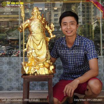 Tượng Quan Công Bằng Đồng Cao 69cm Dát Vàng 9999