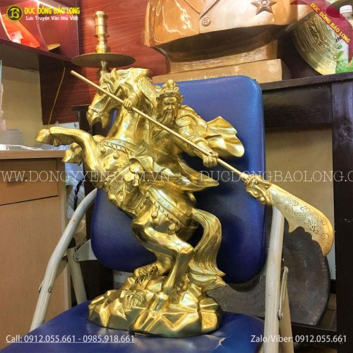 Tượng Quan Công Cưỡi Ngựa Vung Đao Bằng Đồng Catut 50cm
