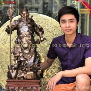 Tượng Quan Công Khảm Tam Khí 69cm cho chị Hoa Hà Nội