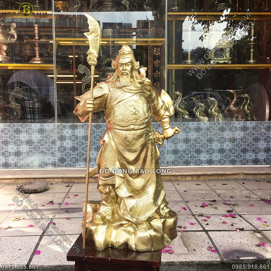 tượng quan công đứng cao 68cm bằng đồng katut