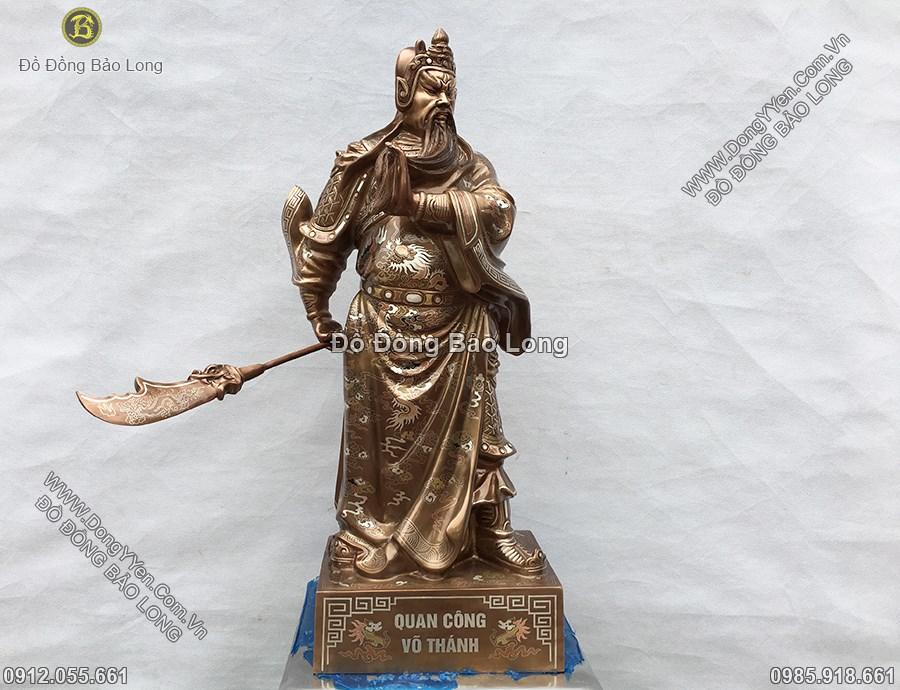 tượng quan thánh bằng đồng tam khí cao 69cm