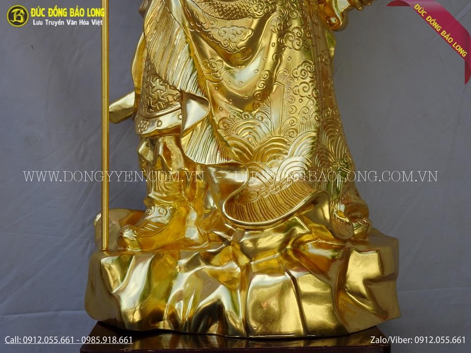 Vàng 9999: Tượng Quan Công Bằng Đồng Cao 69cm Dát Vàng 9999