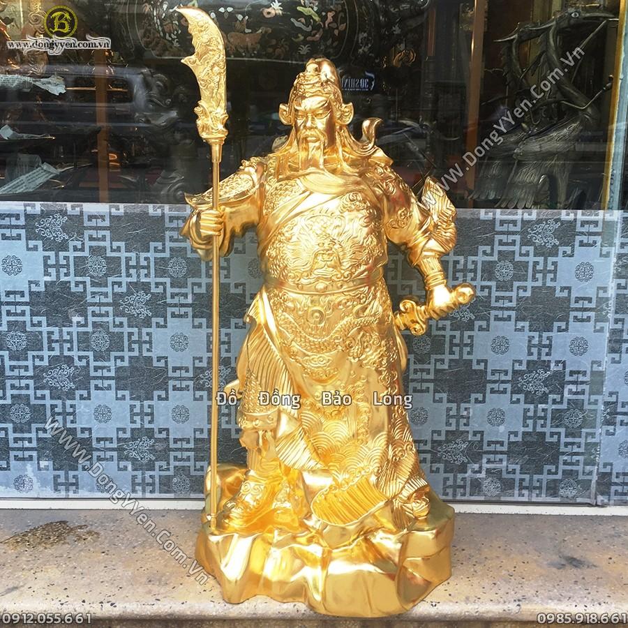 Tượng Quan Công Đứng Chống Đao Thếp Vàng 9999 Cao 69cm