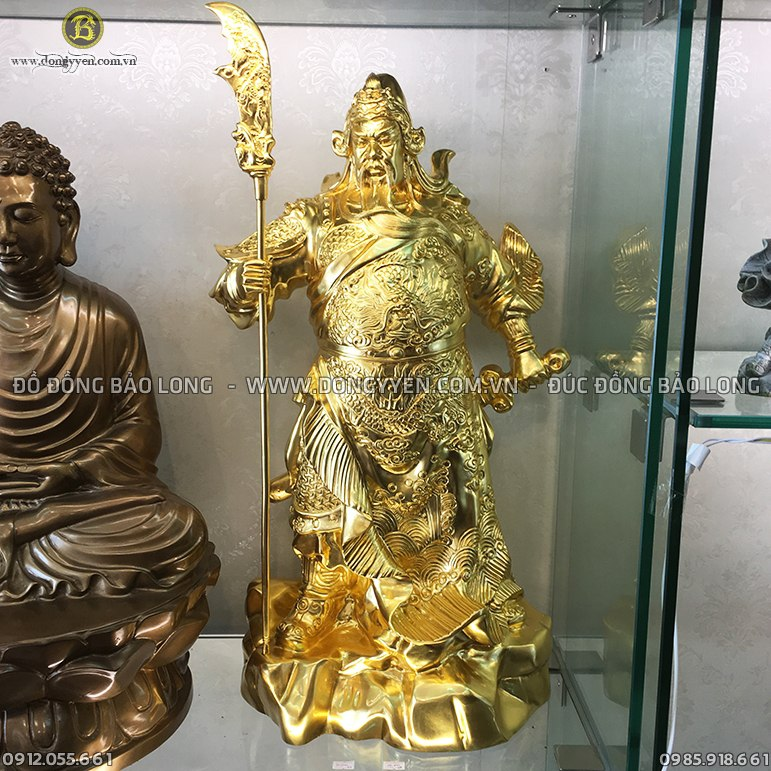 Tượng Quan Thánh Đứng 48cm Dát Vàng