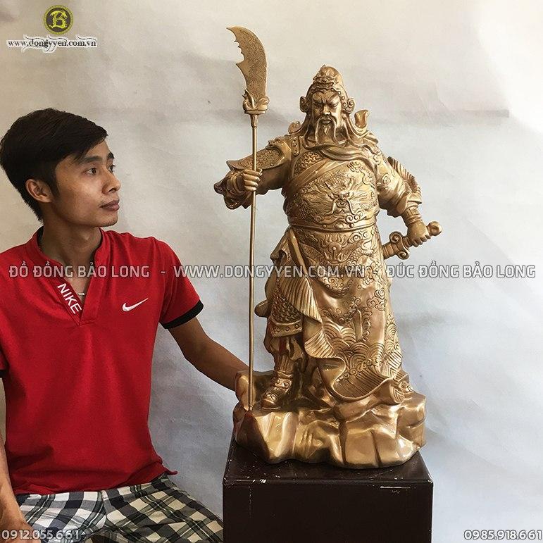 Tượng Quan Vân Trường Đứng Đồng Đỏ 81cm