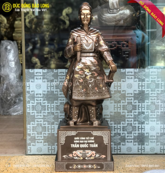 Tượng Trần Hưng Đạo Cao 81cm Hàng Nghệ Nhân Khảm