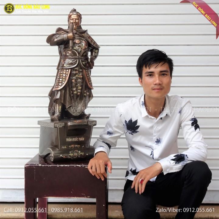 Tượng Trần Hưng Đạo Khảm Tam Khí 81cm Mẫu Mới