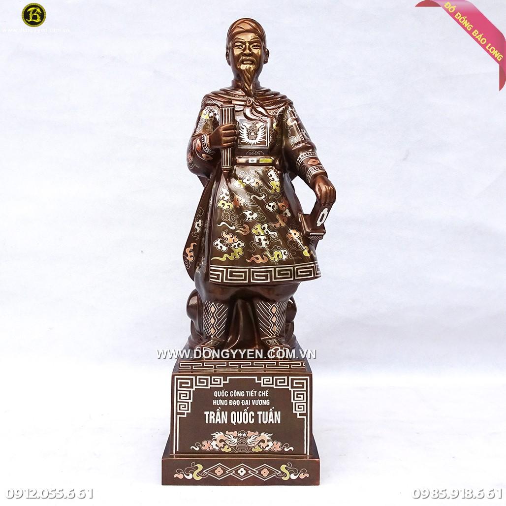 Tượng Trần Quốc Tuấn Khảm Tam Khí 69cm Cao Cấp